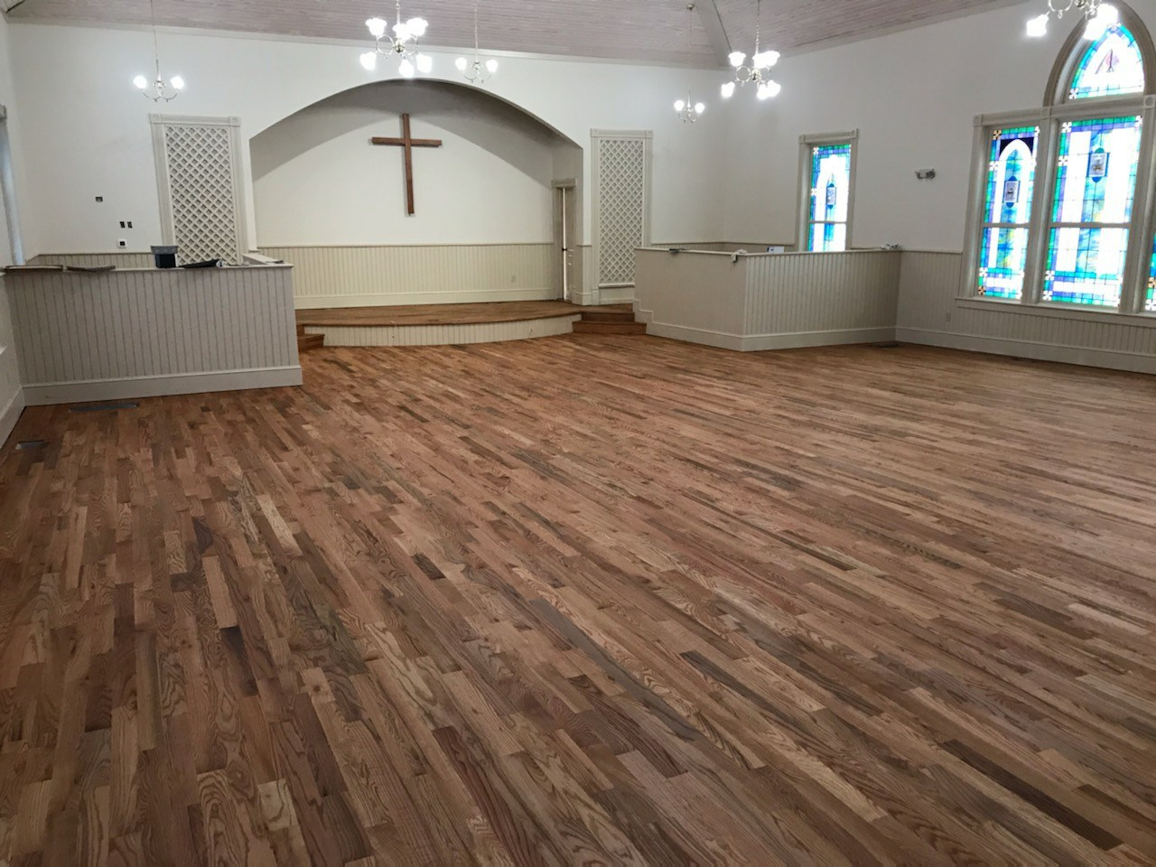 Interior of church with wooden floor