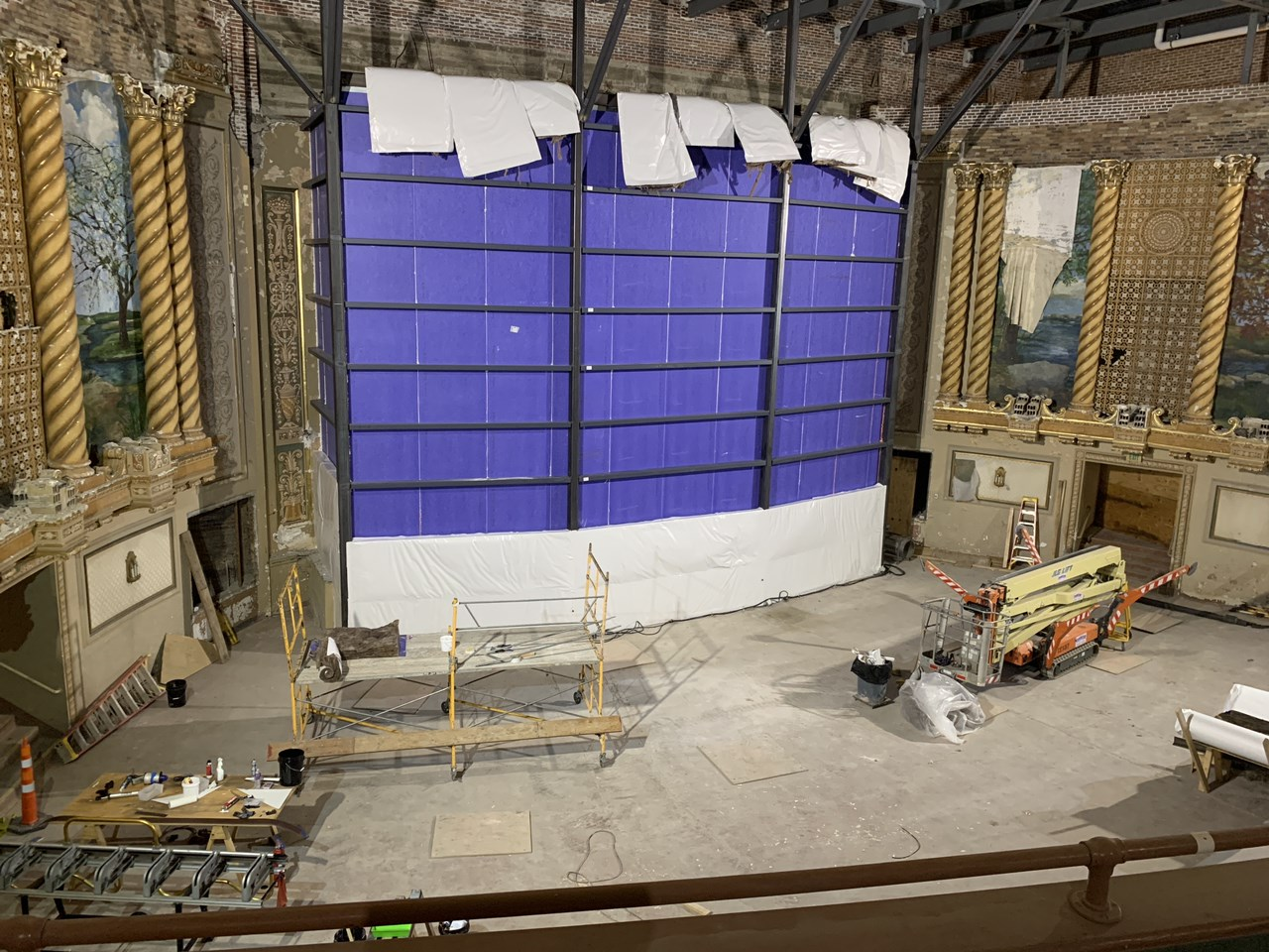 Theater stage area under construction